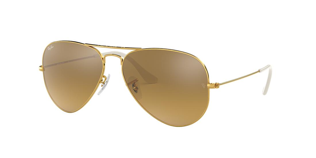 Ray Ban Ray-ban Unisex Classic Aviator Sunglasses, 55mm In Gold/gold Mirror