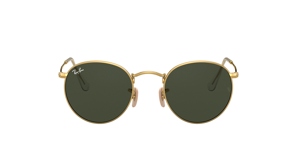 e021f312f Ray-Ban RB3447 ROUND METAL 50 Green & Gold Sunglasses | Sunglass Hut USA