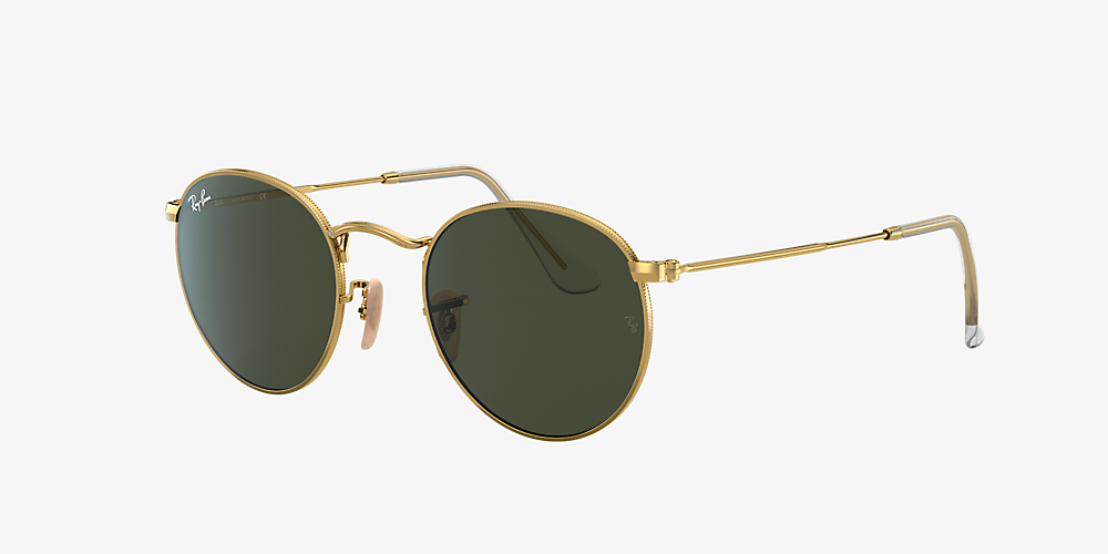 99a94d7ffedf Ray-Ban RB3447 ROUND METAL 50 Green & Gold Sunglasses | Sunglass Hut ...