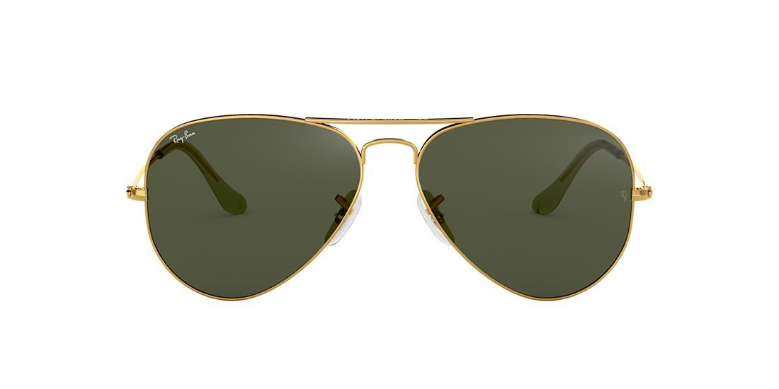 ff79ba7de9bad Ray-Ban RB3025 AVIATOR CLASSIC 58 Green   Gold Sunglasses