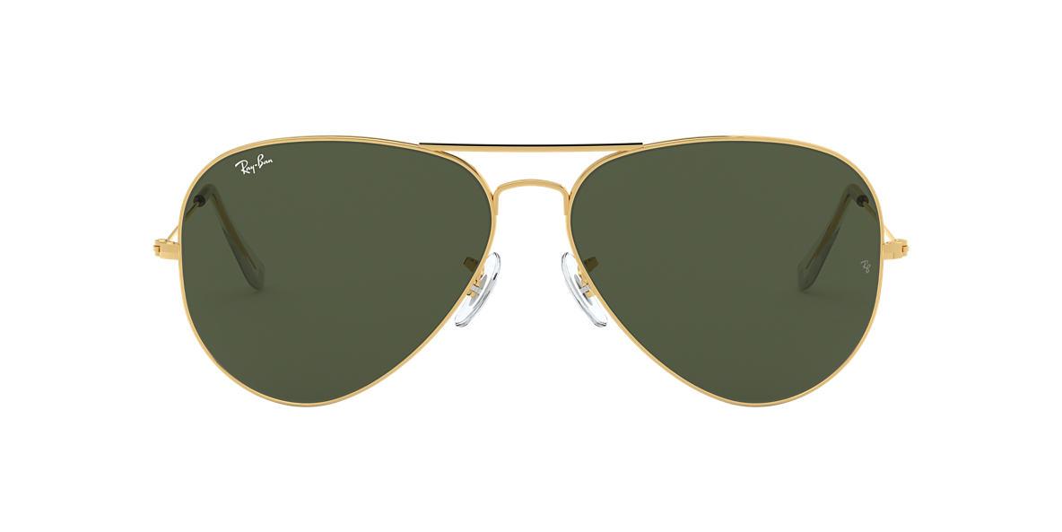0d64cc073f Ray-Ban RB3025 AVIATOR CLASSIC 62 Green   Gold Sunglasses