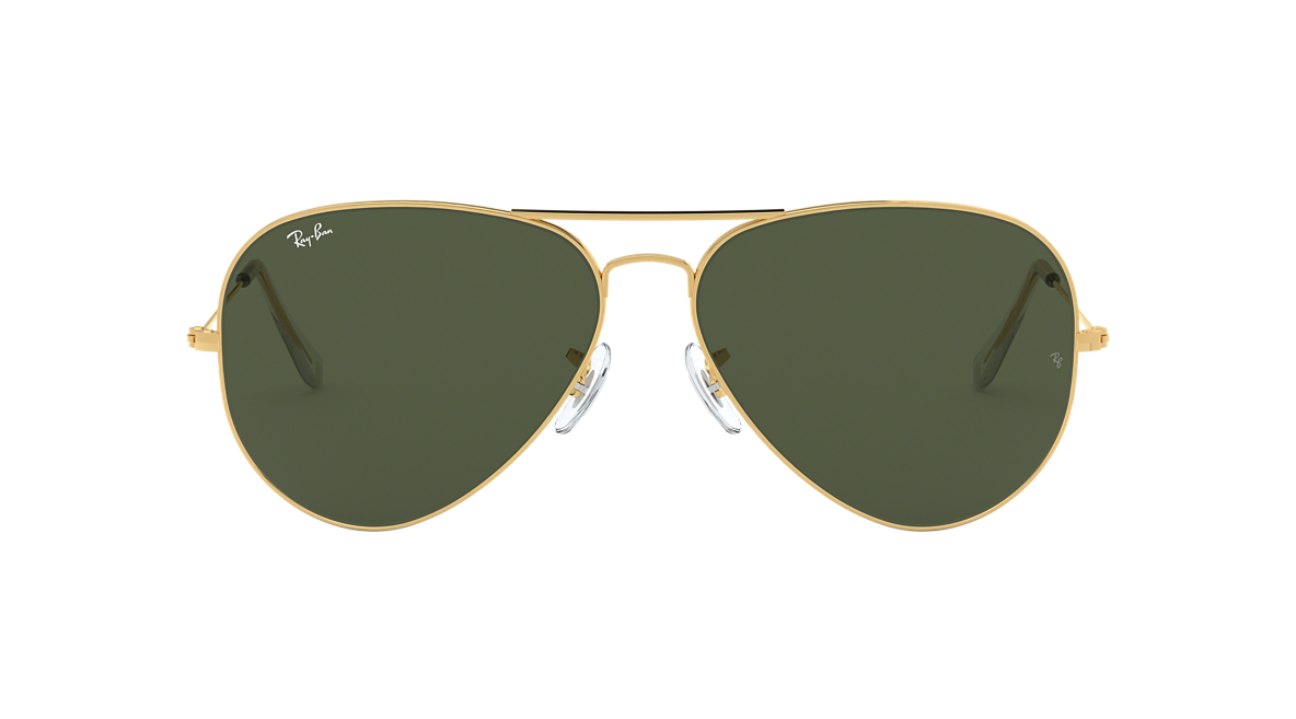 ray ban aviator gold frame green lens