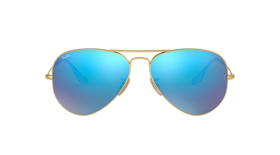 Ray-Ban RB3025 58 ORIGINAL AVI 58 Blue & Gold Matte Sunglasses ...