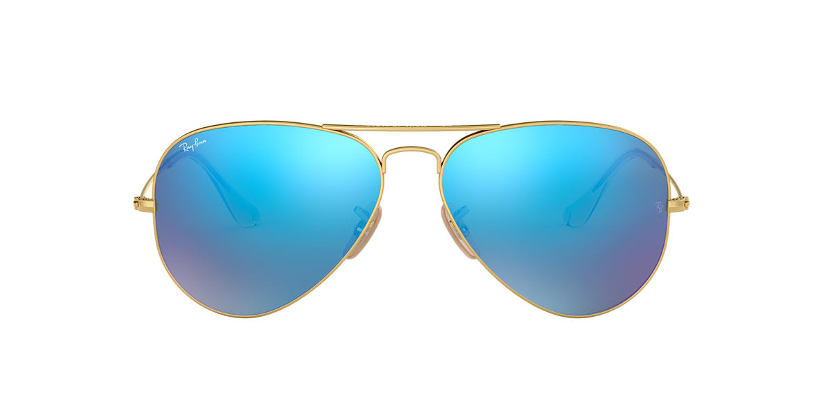 Gold RB3025 AVIATOR FLASH LENSES Blue Flash  55