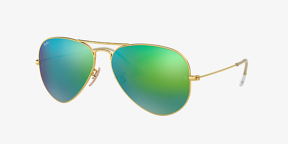 f2a5a028c7c2 Ray-Ban RB3025 AVIATOR FLASH LENSES 58 Green Flash & Gold Sunglasses ...