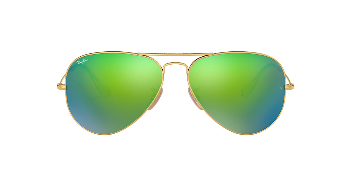 e94984df55 Ray-Ban RB3025 62 Green Flash   Gold Sunglasses