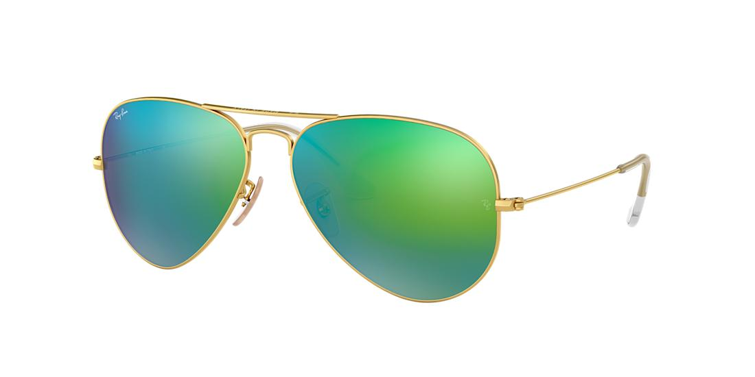 Ray Ban Unisex  RB3025 AVIATOR FLASH LENSES -  Frame color: Gold, Lens color: Green, Size 55-14/135