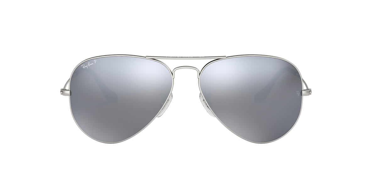 Silver RB3025 AVIATOR MIRROR Polarized Silver Flash  58