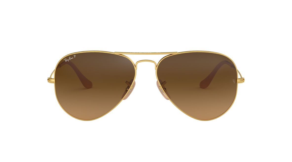 faff8e0b7704c Ray-Ban RB3025 AVIATOR GRADIENT 55 Brown   Gold Polarized Sunglasses ...