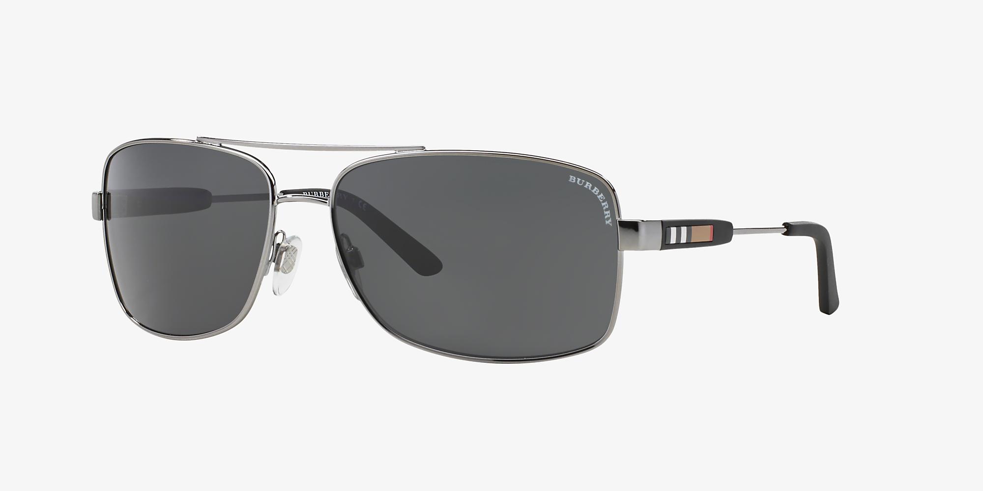 400cfdc518a4 Burberry BE3074 63 Grey-Black & Gunmetal Sunglasses | Sunglass Hut USA
