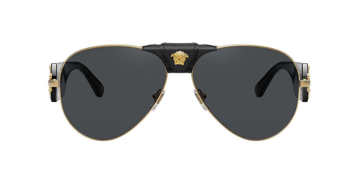 b71416487734 Versace VE2150Q 62 Grey-Black & Gold Sunglasses | Sunglass Hut USA
