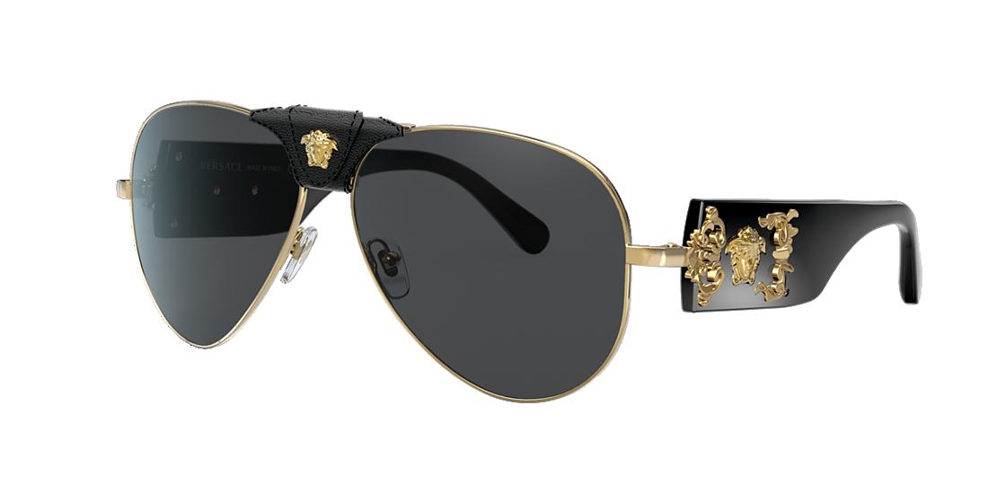 a3584cb0752 Versace VE2150Q 62 Grey-Black   Gold Sunglasses
