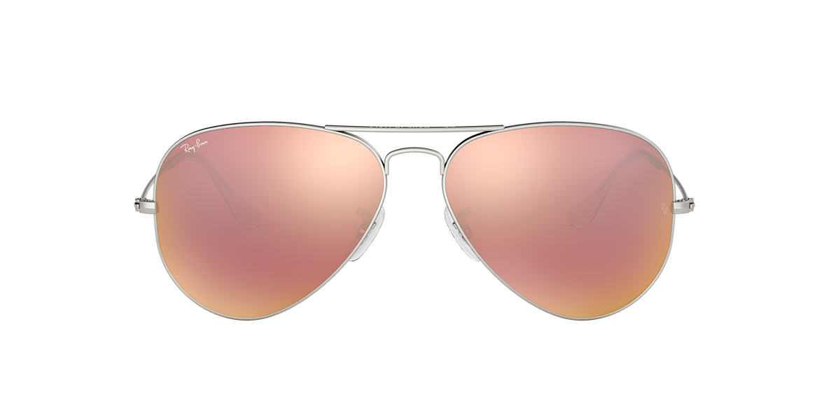Silver RB3025 AVIATOR FLASH LENSES Brown  58