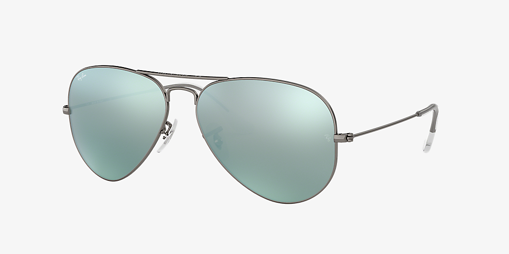 c8272f73d Ray-Ban RB3025 AVIATOR FLASH LENSES 58 Green & Gunmetal Sunglasses ...