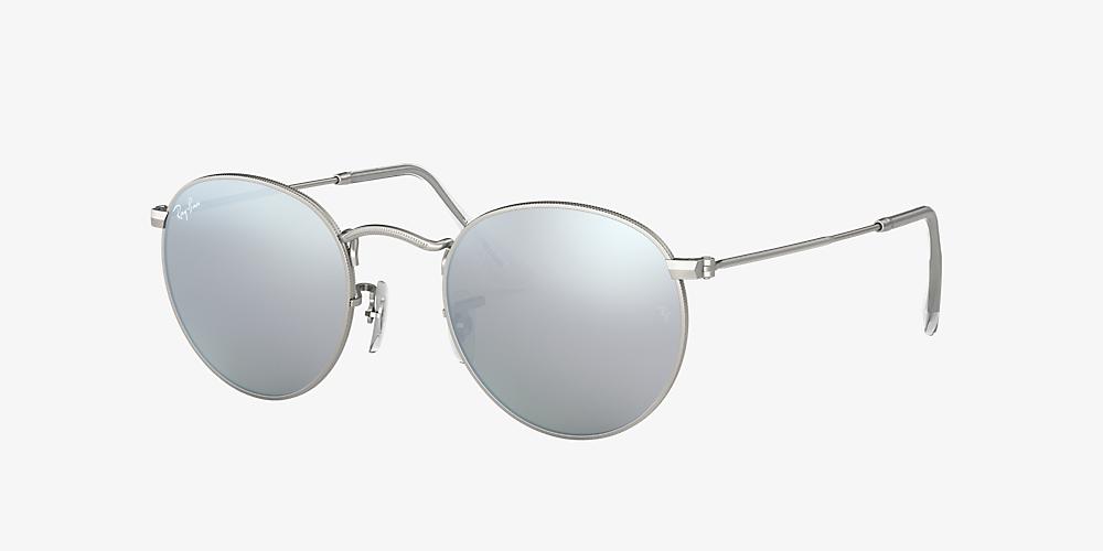 f8a2d82da Ray-Ban RB3447 ROUND FLASH LENSES 50 Green & Silver Sunglasses ...