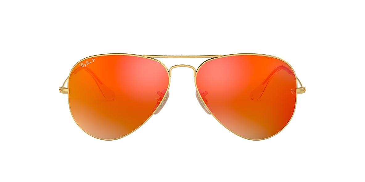 Gold RB3025 AVIATOR FLASH LENSES Orange Flash  58
