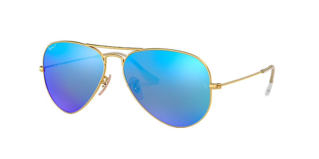 27775706bf Ray-Ban RB3025 58 Polarized Blue Flash   Gold Polarized Sunglasses ...