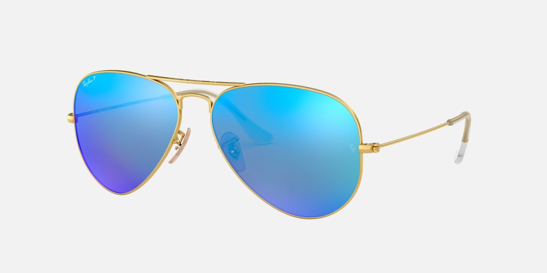 Ray-Ban RB3025 58 Blue & Gold Polarised Sunglasses | Sunglass Hut ...