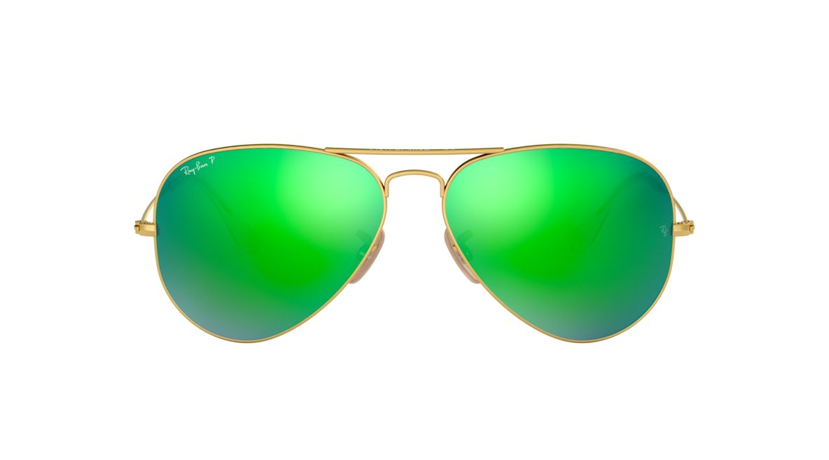a589cf39eb8 Ray-Ban RB3025 58 Polarized Green Flash   Gold Polarised Sunglasses ...