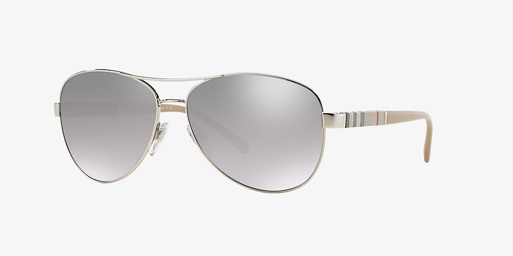 1087bcfcf79b Burberry BE3080 59 Silver & Silver Sunglasses | Sunglass Hut United ...