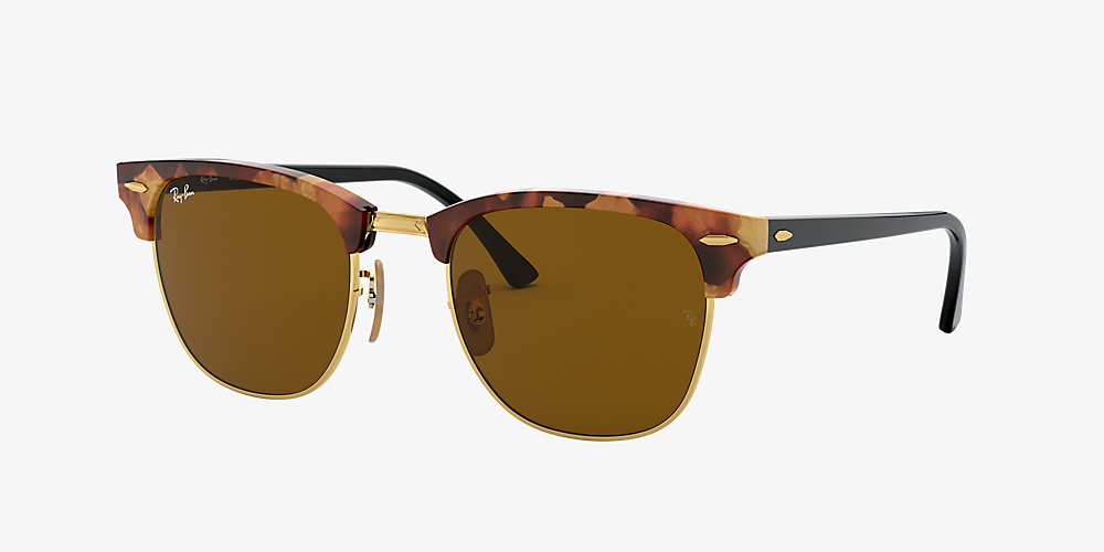 f16e79ce750cdf Ray-Ban RB3016 51 CLUBMASTER FLECK 51 Brown & Tortoise Sunglasses ...