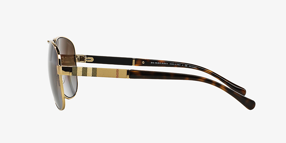 567f15334a59 Burberry BE3080 59 Brown & Gold Polarized Sunglasses | Sunglass Hut USA