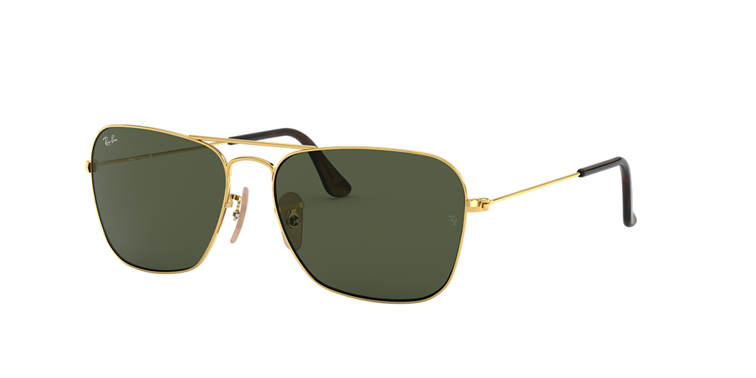 c85f86de5fb Ray-Ban RB3136 58 CARAVAN 58 Green Classic G-15   Gold Sunglasses ...