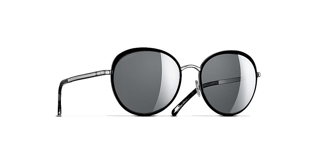 958538cabd93 Chanel Round Sunglasses CH4206 55 Black & Black & silver Sunglasses ...