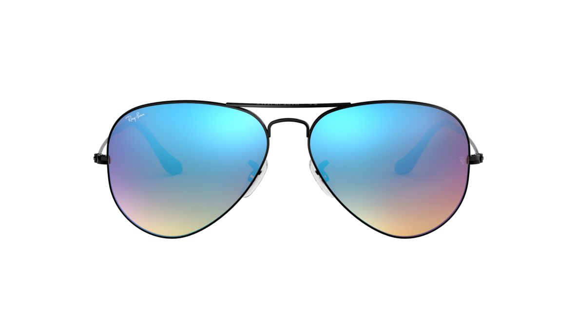 fae294add1bb6 Ray-Ban RB3025 AVIATOR FLASH LENSES GRADIENT 58 Blue Gradient Flash   Black  Sunglasses