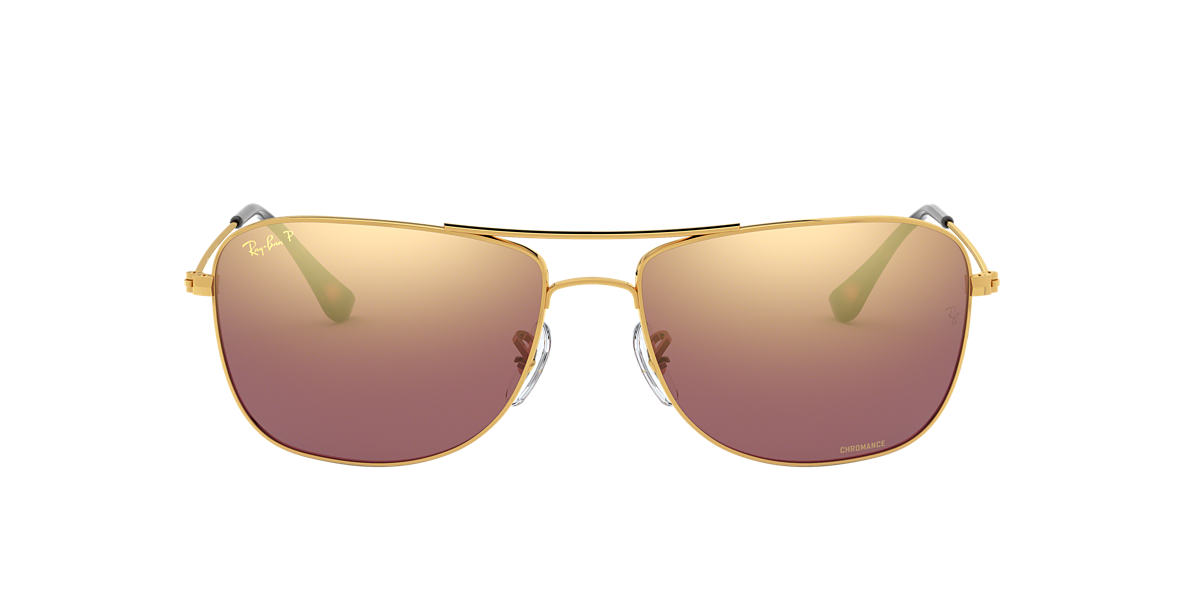 4c1a6392789 RAY-BAN Gold RB3543 Purple Mirror Chromance Polarized polarised lenses 59mm