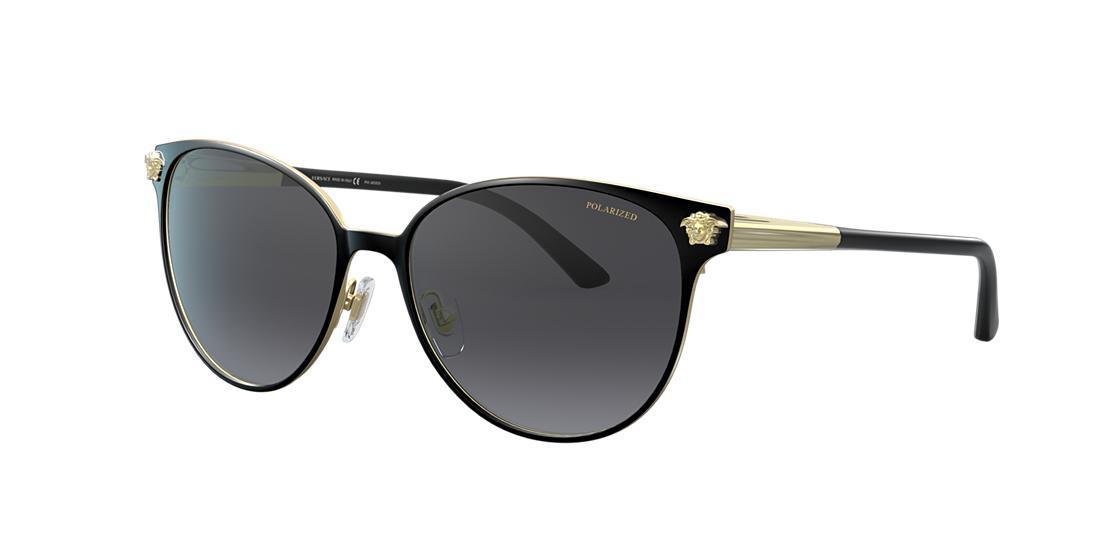28abacc5d8 Versace Polarized Medusa Head Round Sunglasses In Black Grey Polar ...