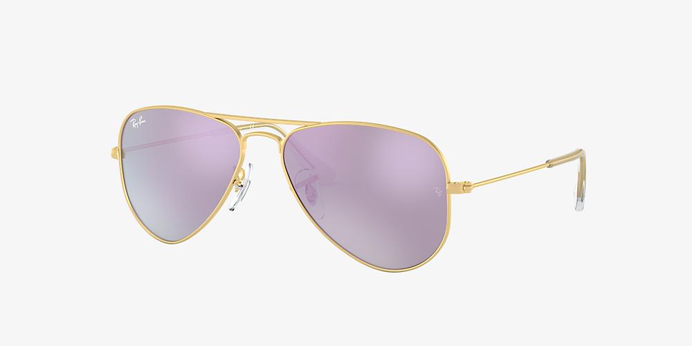 17265dfae Ray-Ban RJ9506S AVIATOR KIDS 50 Lilac Mirror & Gold Sunglasses ...