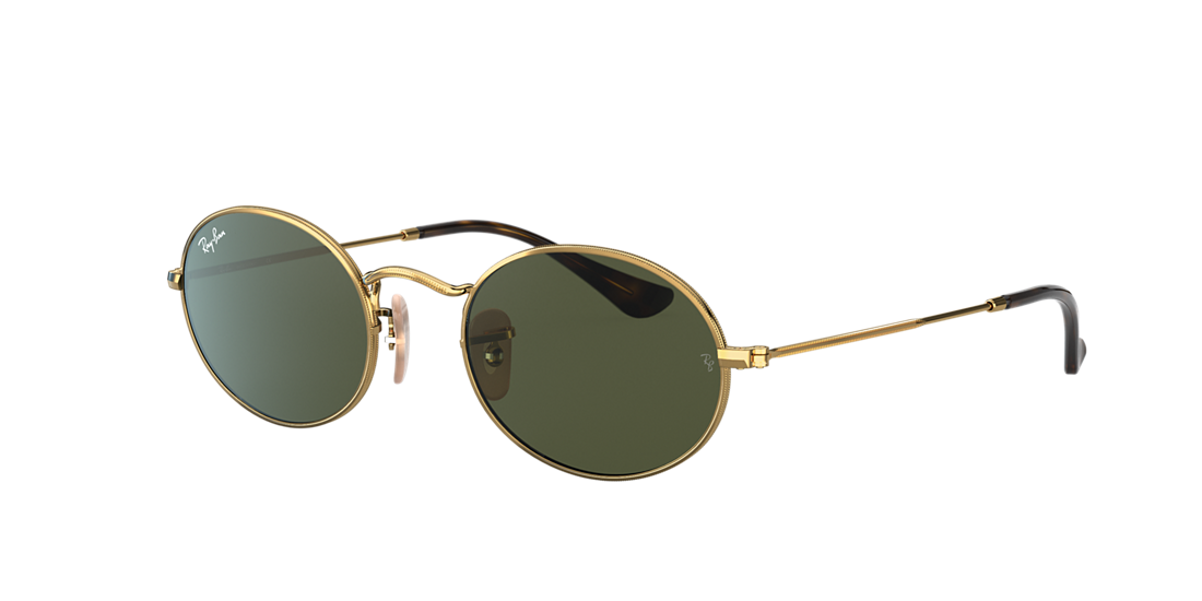 c3bf178f82 Ray-Ban RB3547N 48 OVAL FLAT LENS 48 Green Classic G-15   Gold ...