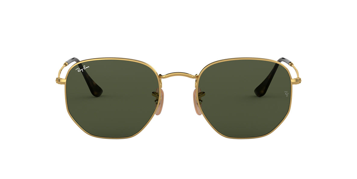 41783b1f3b9 Ray-Ban RB3548N 48 HEXAGONAL FLAT LENS 48 Green Classic G-15   Gold ...