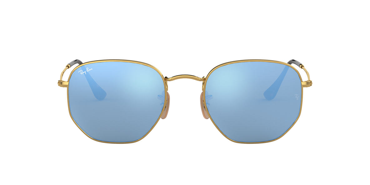 Gold RB3548N HEXAGONAL FLAT LENSES Blue  48