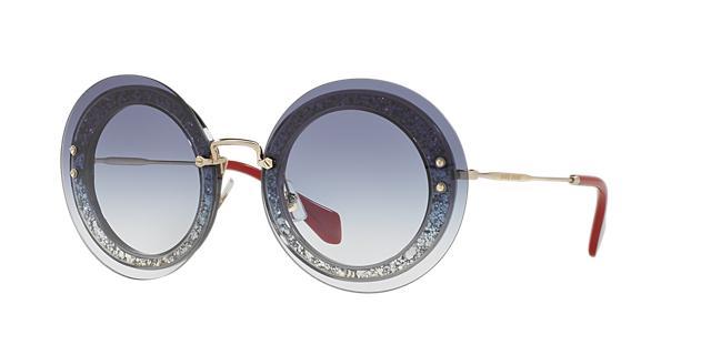 Miu Miu 64Mm Round Overlay Sunglasses, Blue Crystal