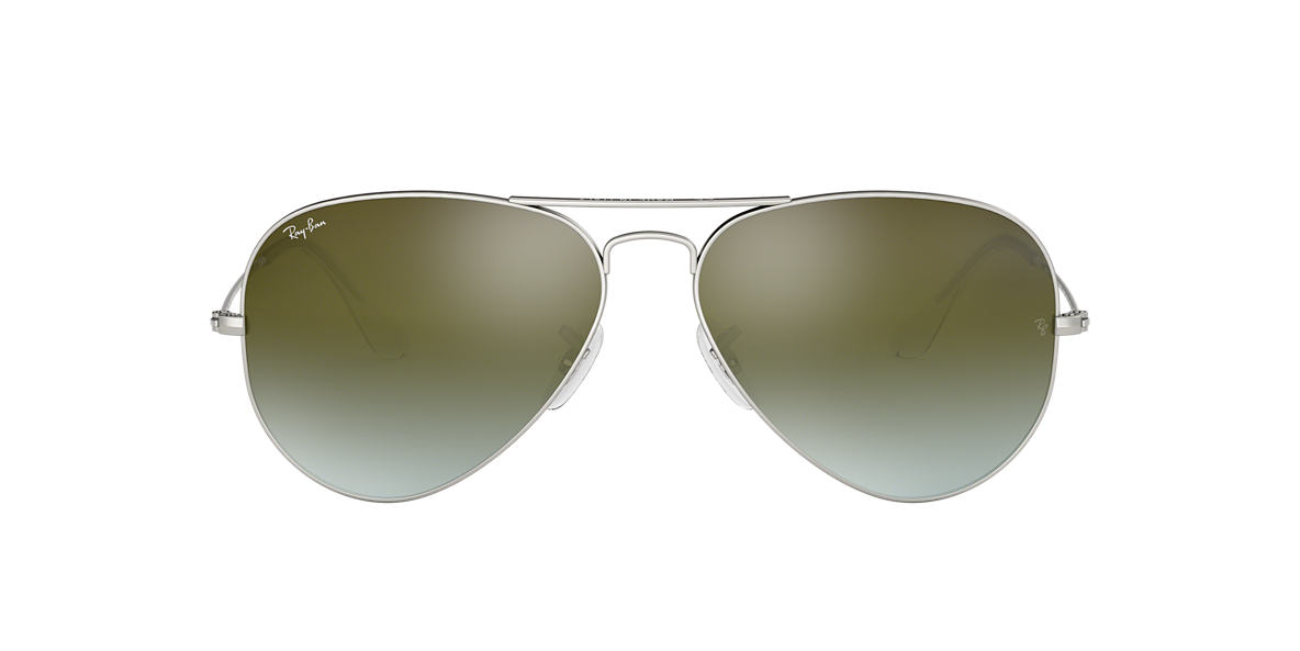 Silver RB3025 AVIATOR FLASH LENSES GRADIENT Green Gradient Flash  58