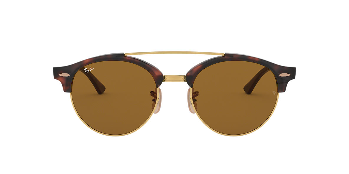 a192c280c0 Ray-Ban RB4346 CLUBROUND DOUBLE BRIDGE 51 Brown Classic B-15 ...