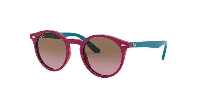 Ray-Ban Rj9064S Kids Pink Round Sunglasses in Pink Frames/Purple Lenses