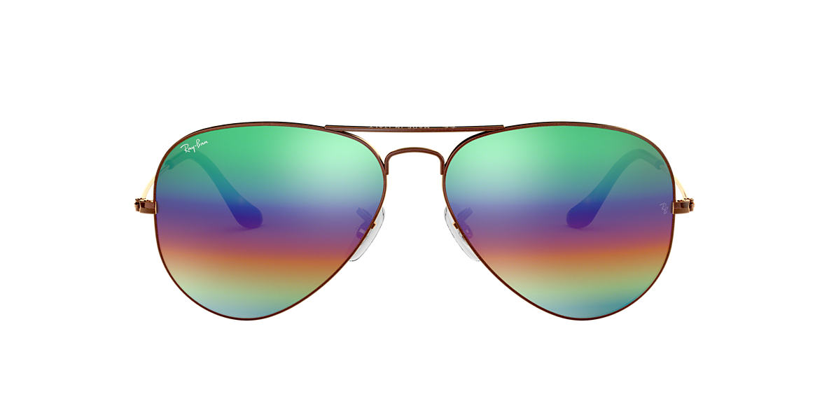 0f1d3e49bc Ray-Ban null 58 Green Rainbow Flash   Bronze-Copper Sunglasses ...