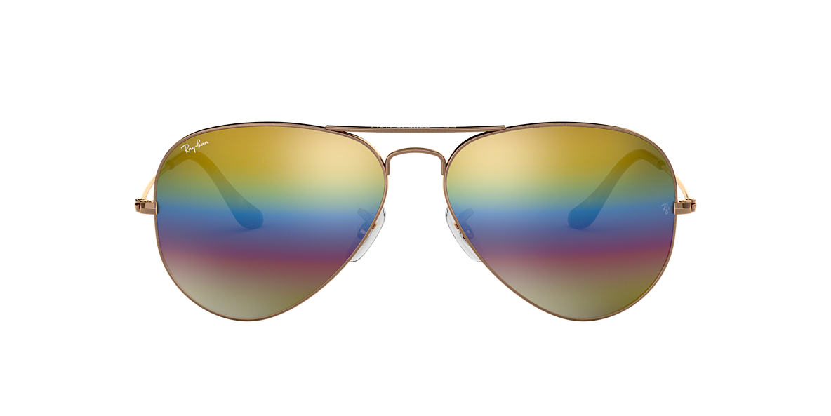 Bronze-Copper RB3025 AVIATOR MINERAL FLASH LENSES Gold Rainbow Flash  58