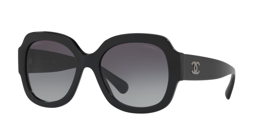 CHANEL Square Sunglasses 57 Gray & Black Sunglasses | Sunglass Hut ...