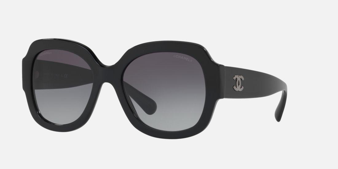 CHANEL RECTANGLE SUNGLASSES 57 Grey & Black Sunglasses | Sunglass ...