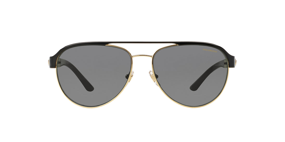 7c9db30a6d Versace null 58 Grey-Black   Gold Polarized Sunglasses