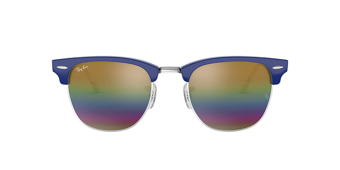 Blue RB3016 CLUBMASTER MINERAL FLASH LENSES Gold  51
