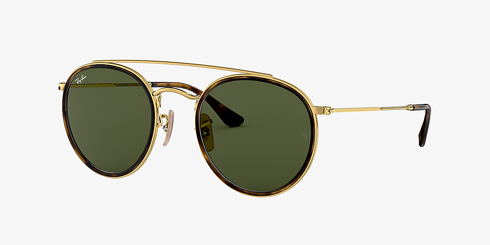 9741803289 Ray-Ban RB3647N ROUND DOUBLE BRIDGE 51 Vert & Or Sunglasses ...