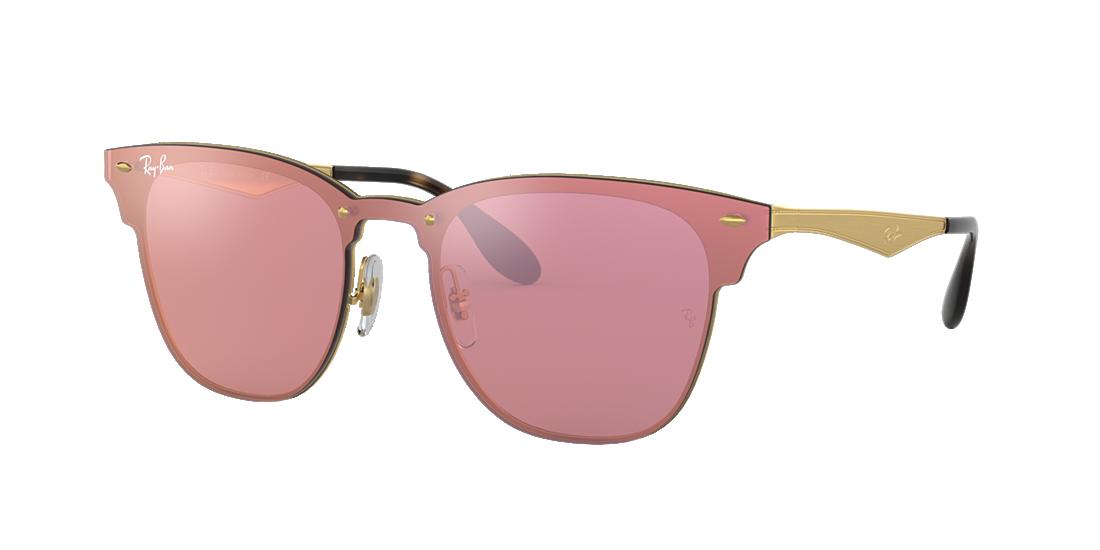 e7505da380 Style  full rim. Frame material  metal. Frame  gold. Lenses  pink mirror.  PDP Product Image