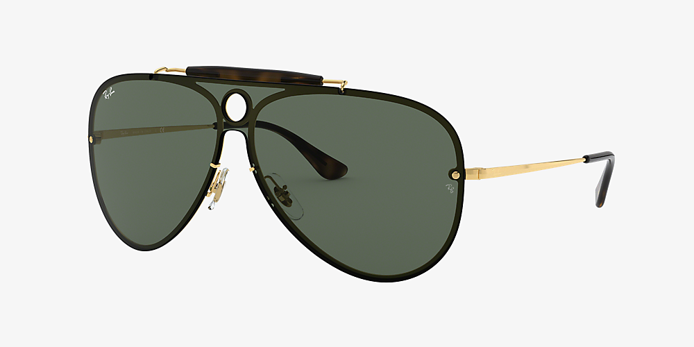 2abd37c8c02a Ray-Ban RB3581N BLAZE SHOOTER FLAT LENS 01 Green & Gold Sunglasses ...