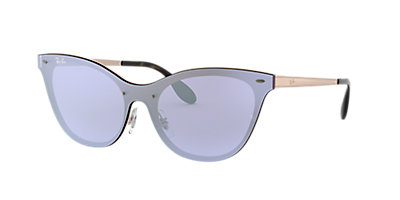 Ray Ban Rb3580n Blaze Cat Eye 01 Dark Violet Silver Mirror