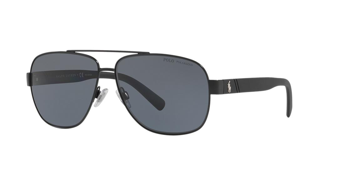 Polo Ralph Lauren 60 Black Pilot Sunglasses - ph3110